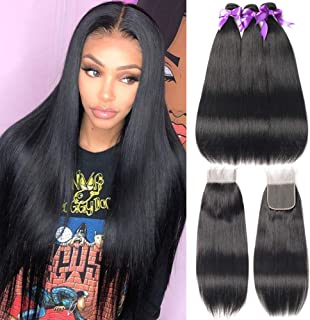 FASHION QUEEN Hair Straight Weave 8A Brazilian Straight Hair 3 Bundles with Lace Closure (12 14 16 +10) Free Part Mixed Size Length Perfect for Natural Color Hair Weft