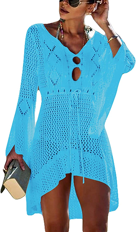 AILUNSNIKA Tunic Swimwear Cover Up Crochet Hollow Beach Bikini Dress for Women