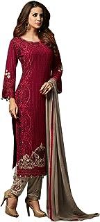 ETHNIC EMPORIUM Women's Maroon New Designer Georgette Party Wear Palazzo Salwar Kameez Pant Custom to Measure Indian Ethni...