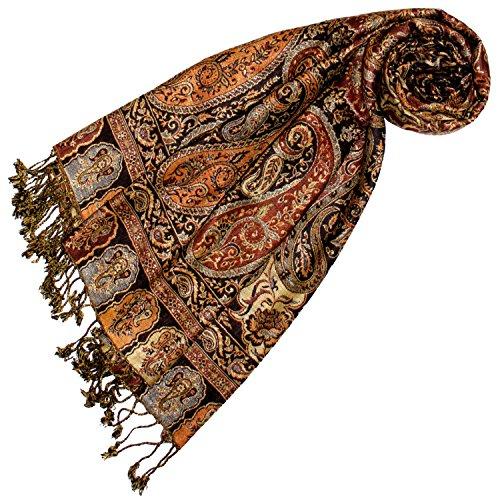 Lorenzo Cana Marken Damenpashmina Schal Schaltuch Stola Umschlagtuch Naturfaser opulentes Muster in harmonischen braun Farben mit Fransen 70 cm x 200 cm - 78166