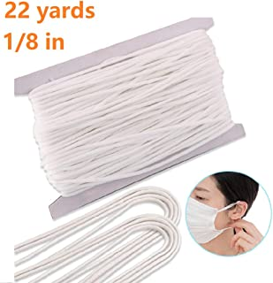 Elastic Band Earloop Cord Strap 22 Yard, White Braided Elastic String Ear Loop Cord Stretchy Ear Tie Rope Handmade String for Sewing, 1/8 Inch Width
