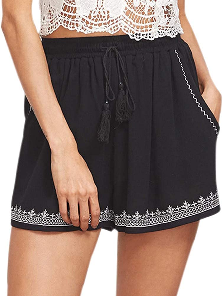 Gergeos Women's Summer Boho Printed Beach Shorts Elastic Band Loose Casual Shorts Black