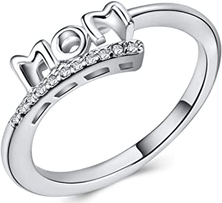 AJZYX Mothers Ring Micro Zircon Platinum Plated Mom Mother Rings for Family Mother's Day Birthday Rings for Mom Size 6-10