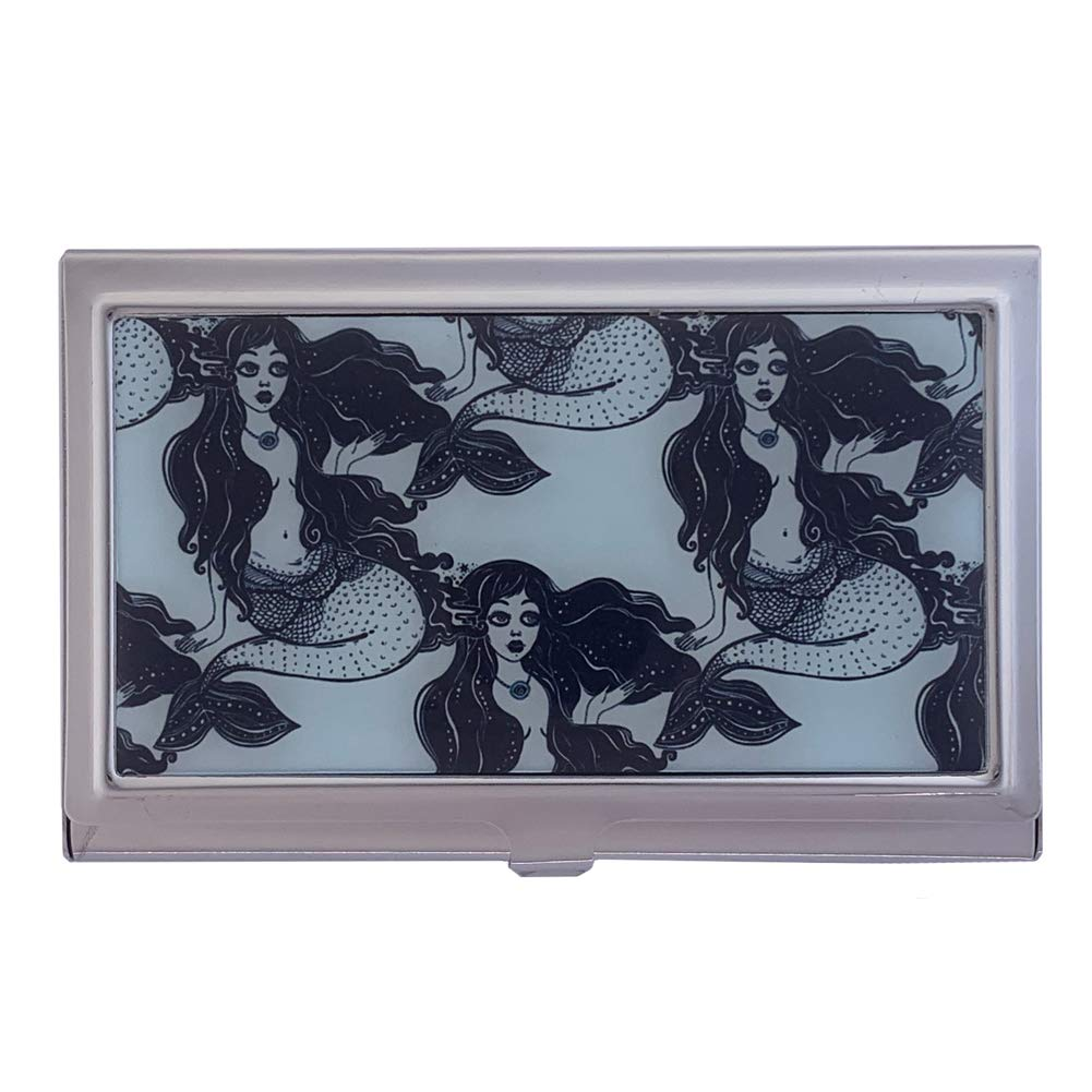 Nautical Super sale Mermaid ID Miami Mall Holder Business Metal Case Wallet Card