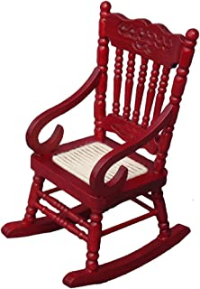 Aneil Rocking Chair Model Dollhouse Miniature Accessories for Kids and Girls (Red)