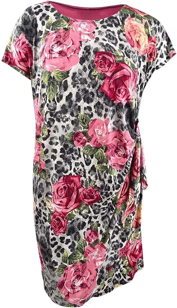 ROBBIE BEE Women's Plus Size Printed Faux Wrap Dress