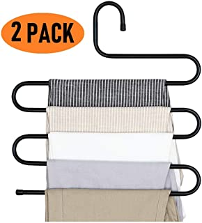 VIFITKIT Stainless Steel Metal S-Shape 5 Layers Multi Purpose Magic Hanger for Wardrobe, Sarees, Pants, Scarfs and Other Clothes (Black) 2