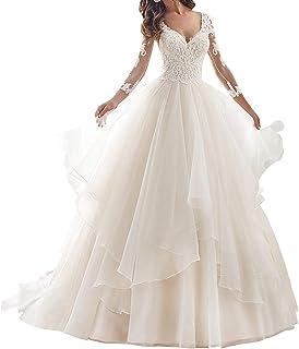 JAEDEN Abiti da Sposa Lungo Vestito da Sposa Principessa Manica Lunga Tulle Pizzo V-Collo