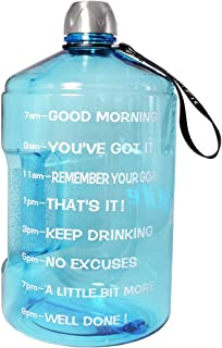 BuildLife 1 Gallon Water Bottle Motivational Fitness Workout with Time Marker/Drink More..