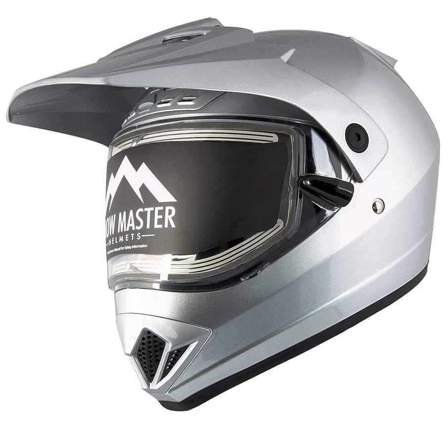 Snow Master TX-45 Silver Dual Sport Snowmobile Helmet (Silver, Medium)
