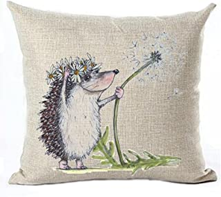 GAWEKIQE Hand Drawn Animal Plant Dandelion Hedgehog cat Mouse Ladybug Cotton Linen Throw Pillow Cover Cushion Case Holiday Decorative 18