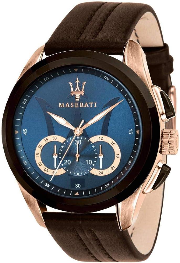 Maserati orologio cronografo da uomo, collezione traguardo in acciaio e cuoio 8033288792239