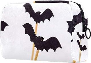 Halloween Bat Makeup Bag Toiletry Bag for Women Skincare Cosmetic Handy Pouch Zipper Handbag