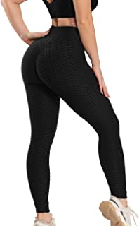 H HOME-MART Women's Honeycomb Leggings Ruched Butt Lifting High Waist Yoga Pants Chic with Pockets Sport Tummy Control Gy...