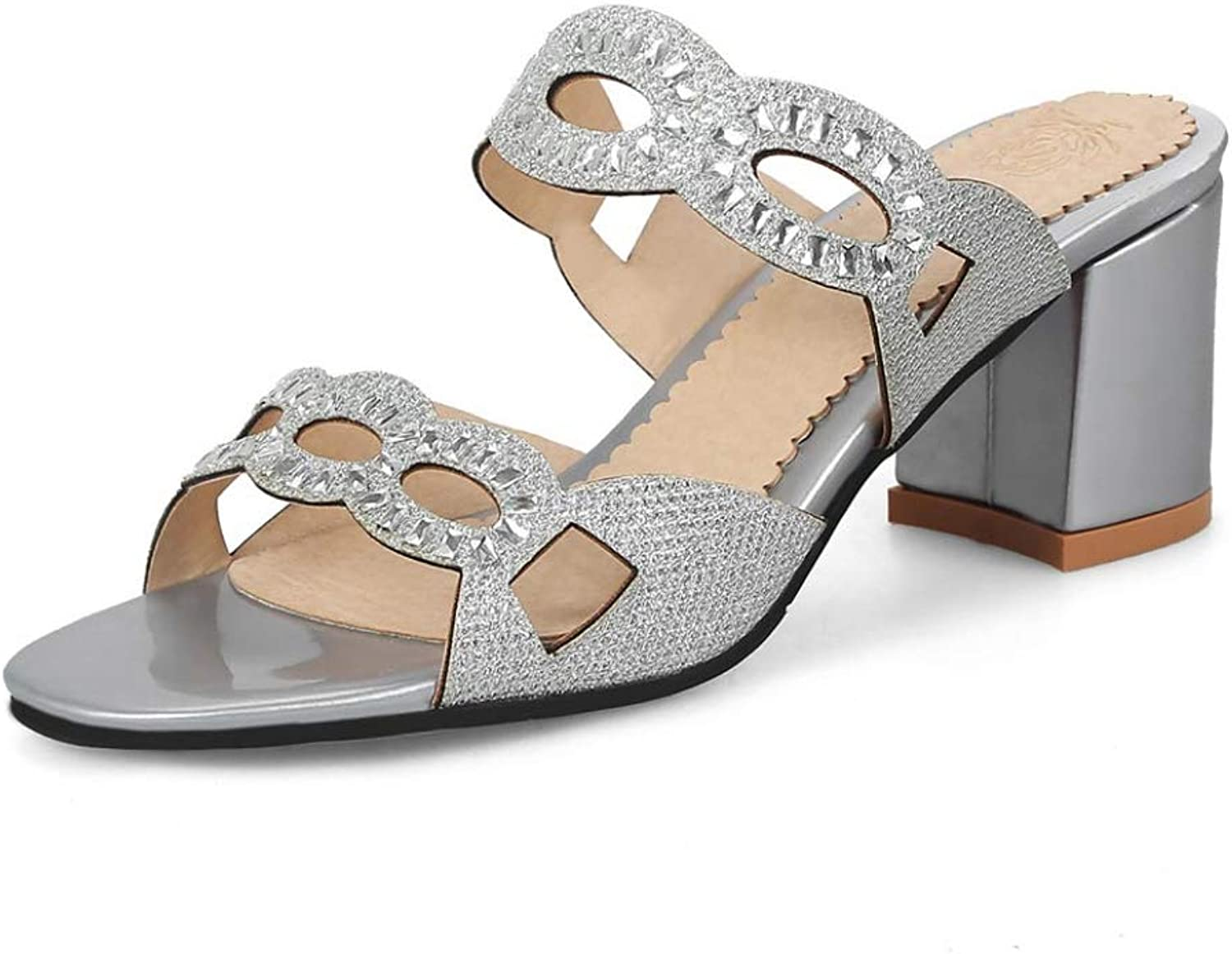 T-JULY Fashion Women's Sandal Crystal Open Toe High Heels Summer Fashion Solid color Comfortable Thick Heel Outdoor Ladies shoes