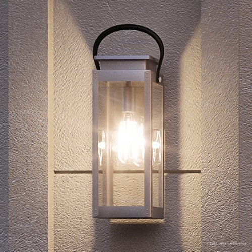 "Luxury Modern Farmhouse Outdoor Wall Light, Medium Size: 19.375""H x 7.875""W, with Nautical Style Elements, Stainless Steel Finish, UHP1131 from The Darwin Collection by Urban Ambiance"