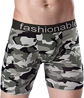 Men's Underwear Sports Long Printed Cotton Boxer Briefs Running Wear-Resistant Legs Five Pants Long Flat Four-Point Trousers (3 Pieces)