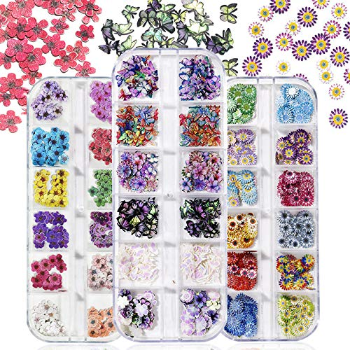Kalolary 3 Boxes Flower Nail Art Sequins Decals Sticker, 3D Nail Art Glitter Sequins Colorful Mixed Flower Daisy Butterfly Daffodil Design Slice Nail Flake for Nail Face Body Decoration DIY Crafting