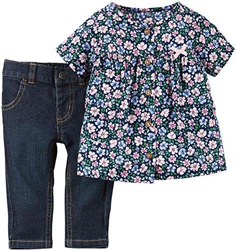 Carter's 62/68 Jeanshose + Bluse geblumt Jeans Shirt Baby US SIZE 6 month 2 teilig
