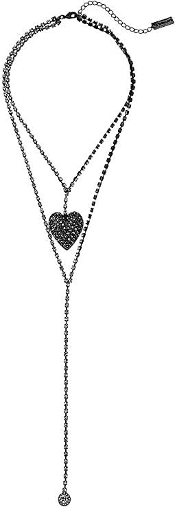 Jeweled Caviar Heart 2 Layer Lariat Necklace