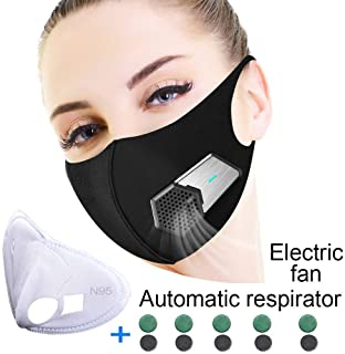 Dust Mask Anti Pollution Elecitic air Masks with N95 Protection for Allergy Masks with Fan Filter Cotton Sheet Valves Respirator breathable face mask for Smoke,Exhaust Gas,Dust,Hiking,Outdoor PM2.5