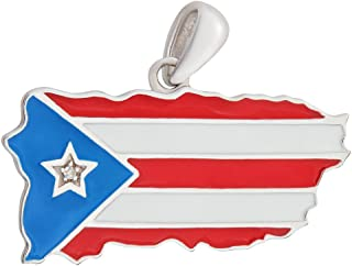 Puerto Rico Flag/Map Pendant Solid Sterling Silver .925 and Enamel with Diamond Star