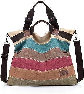 COOFIT Canvas Tasche,COOFIT Damen Handtasche Multi-Color-Striped Umhängetasche Schultasche Canvas Shopper Tasch Bunte