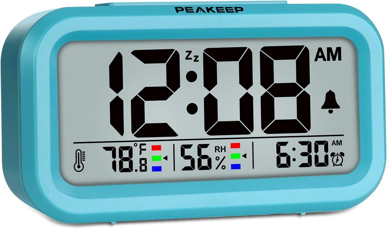 Peakeep Indoor Max 52% OFF Humidity Temperature Digital Clock Alarm for Bedr San Antonio Mall