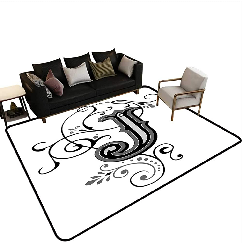Custom Pattern Floor mat,Shabby Chic Classic Written Medieval Initials J Royal Noble Family Character 6'x8',Can be Used for Floor Decoration