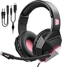 Fone de ouvido para jogos rosa para PS5/PS4/PC Fone de ouvido para computador com microfone com cancelamento de ruído, fon...