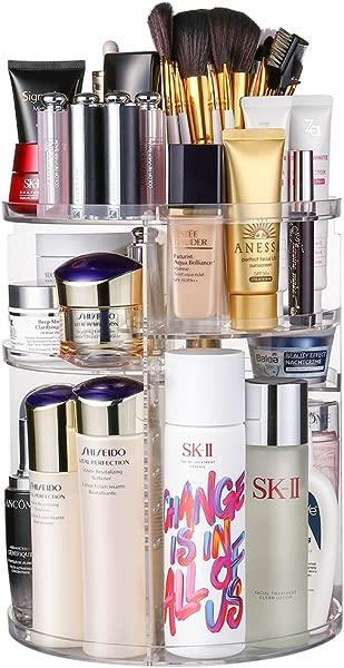 Jerrybox Acrylic Makeup Organizer 360 Rotating Cosmetic Storage Display Box Large Countertop Shelf Vanity Organizers For Bathroom Round