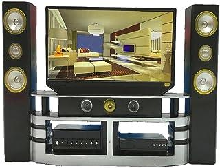 Home Theater 1 pc Mini Hi-Fi TV Home Theater Gabinete Combo para Mini Muñeca Niños Regalo Práctico Diseño