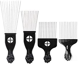 Borogo Afro Combs, 4-Pack Afro Pick w/ Black Fist - Metal African American Pick Comb Straight Hair Brush Hairdressing Styling Tool