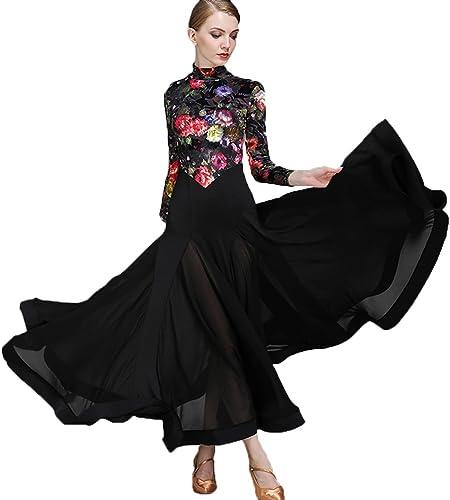 Mode Imprimé Velours Robes de Danse Modernes Haut Collier Svelte Valse Tenue Nationale de Danse de Salon Jupe Couture Maille Costume de Perforhommece Manches Longues