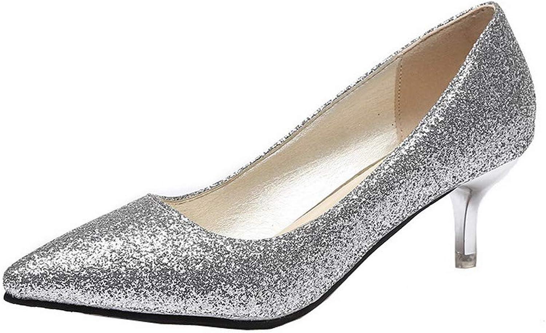 WeenFashion Women's Pull-On Kitten-Heels Pu Solid Pumps-shoes, AMGDW004783