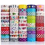 Opopark 50 Rolls Washi Tape Kit Cinta Adhesiva Decorativa Para Scrapbooking Cuenta De Mano Colorida, Artes, Manualidades, Planificadores, álbum de Recortes, Tarjetas, Envoltura de Regalos