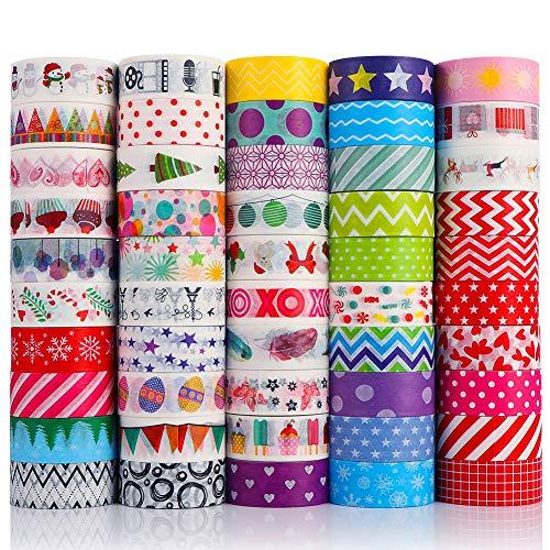 Opopark 50 Rolls Washi Tape Set Vintage Cinta Adhesivas Para Scrapbooking Cuenta De Mano Colorida, Manualidades, Planificadores, álbum de Recortes, Tarjetas, Envoltura de Regalos