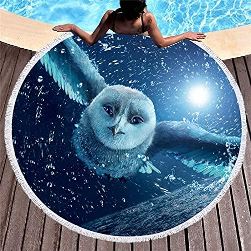 Toalla De Playa Redonda De La Serie Animal, Esterilla De Playa Absorbente De Secado Rápido, Toalla De Baño con Mantón De Microfibra, Patrón De Impresión Digital 150 * 150cm