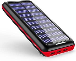 モバイルバッテリー ソーラーチャージャー 24000mAh ソーラー充電器 大容量 電源充電可能 急速充電 2USB入力ポート(2.1A+2.1A) 3USB出力ポート(2.4A+2.4A+2.4A) 災害/旅行/アウトドアに大活躍(RED)