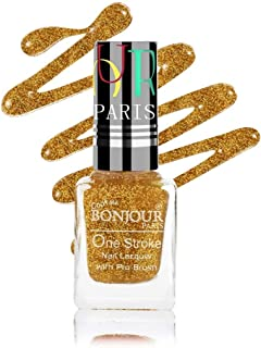 Coat Me Bonjour Paris Long-Lasting and Quick Dry Pearly Shine Glitter Finish with 3D Effect, 9 ml (Gold Stars)