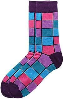 kingcxu, Calcetines largos con rayas geométricas para hombre, diseño de rayas, calcetines gruesos, cómodos, para invierno, atléticos, vintage, para invierno, estilo casual