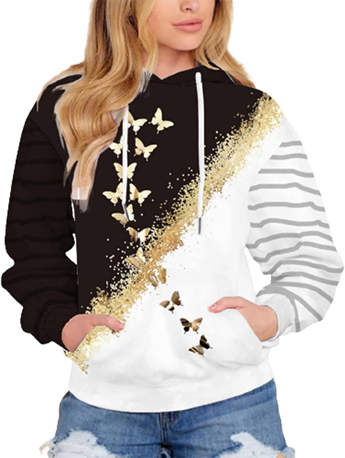 Womens Hoodies Butterfly Printed Sweatshirt Casual Long Sleeve Pullovers Fashion Drawstring Hoodie with Pocket