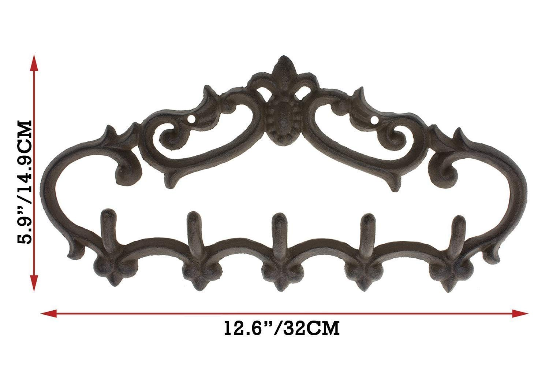 5Pcs Antique Coat Hook Vintage Cast Iron Hanger Hat Hook Wall-mounted Brown USA