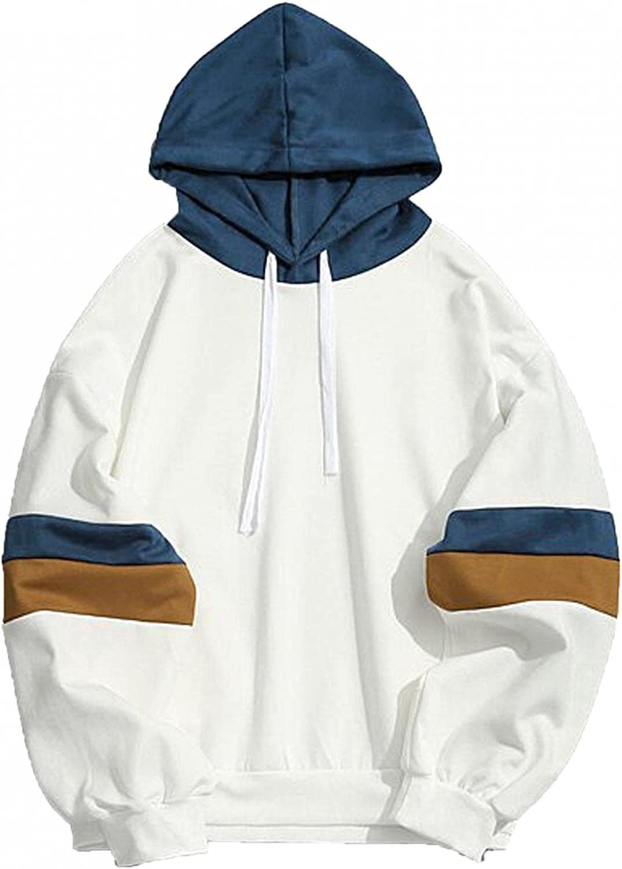 Aayomet Hoodies Sweatshirts for Men Patchwork Tops Color Block Long Sleeve Athletic Hooded Pullover Blouses Sweaters