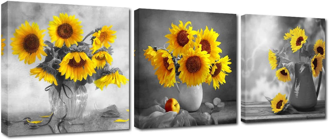 Amazon Com Sunflower Decor Framed Wall Art Rustic Floral Black White Yellow Flower With Vase Canvas Print Home Office Living Room Decoration Modern Artwork Kitchen Pictures For Bedroom 3 Panel Ready To