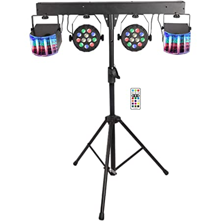 Yuusei LED DJ Lighting Set, RGB Party Bar Package Sound Activated Stage Lighting System, DMX & Remote Control, Portable Gig Bars Lighting Kit with Stand and Bag