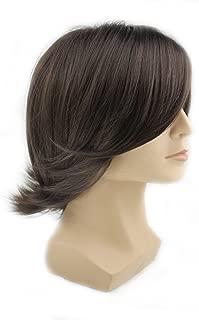 Men's Fashion Medium Style Wave Wig Dark Brown Color Wig