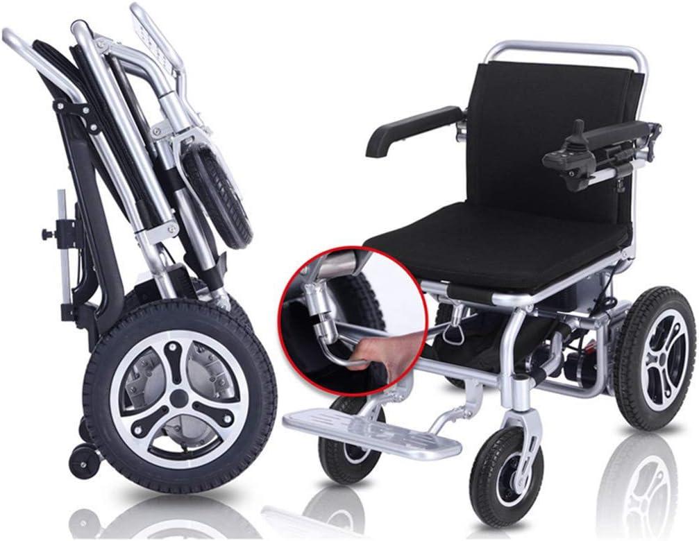 Silla de ruedas auxiliar plegable compacta y eléctrica, silla de ruedas eléctrica portátil ligera y plegable con 2 baterías X5.8Ah, silla de ruedas eléctrica, potente motor de doble silla de ruedas