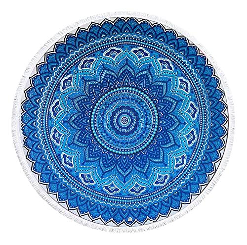 Toalla de Playa Redonda Mandala Resistente a la Playa y Arena de 1.92 * 1.92 (Blanco Y Azul)