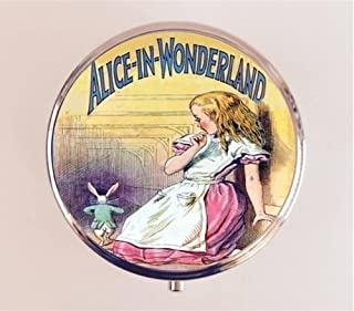 Alice in Wonderland Pill Box Pillbox Case Holder Trinket Box White Rabbit Lewis Carroll